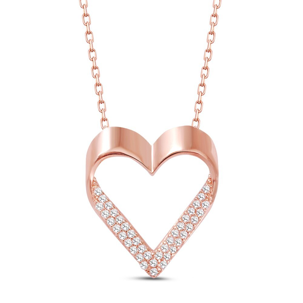 Women's White Gemmed Heart Pendant Rose Plated 925 Carat Silver Necklace