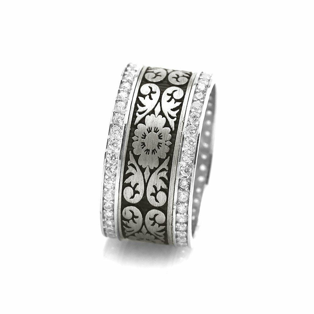 Women's Embroidered Zircon Gemmed 925 Carat Silver Ring