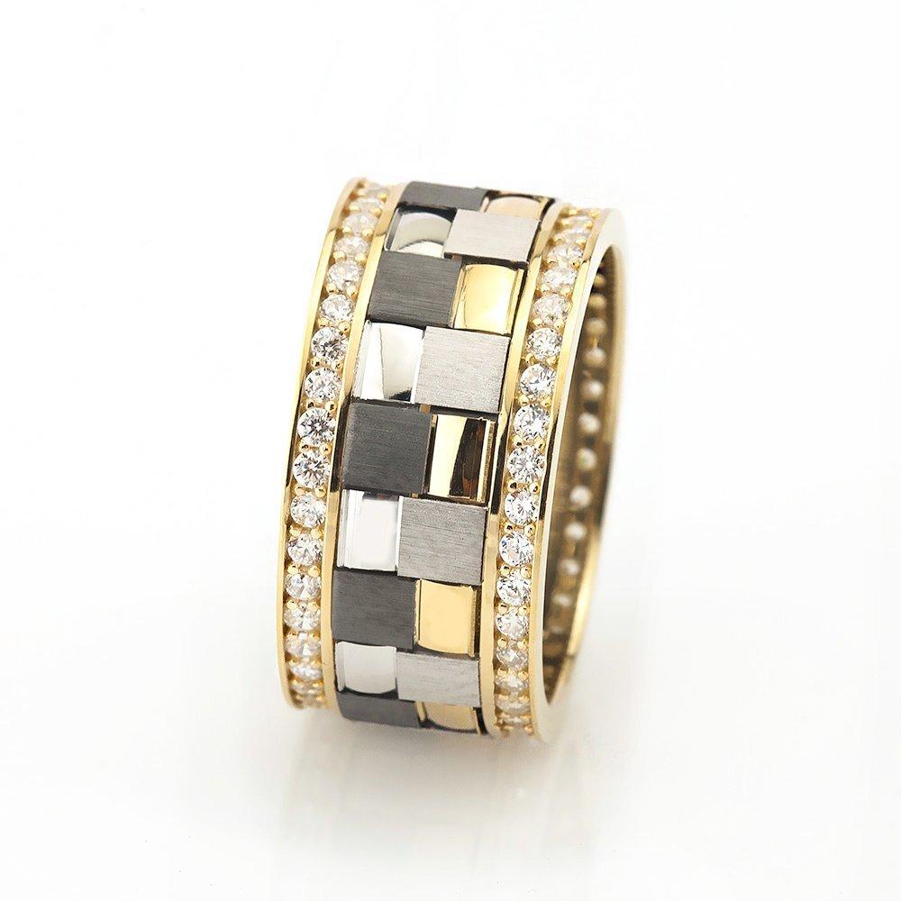 Women's Zircon Gemmed Gold Plated 925 Carat Silver Wedding Ring