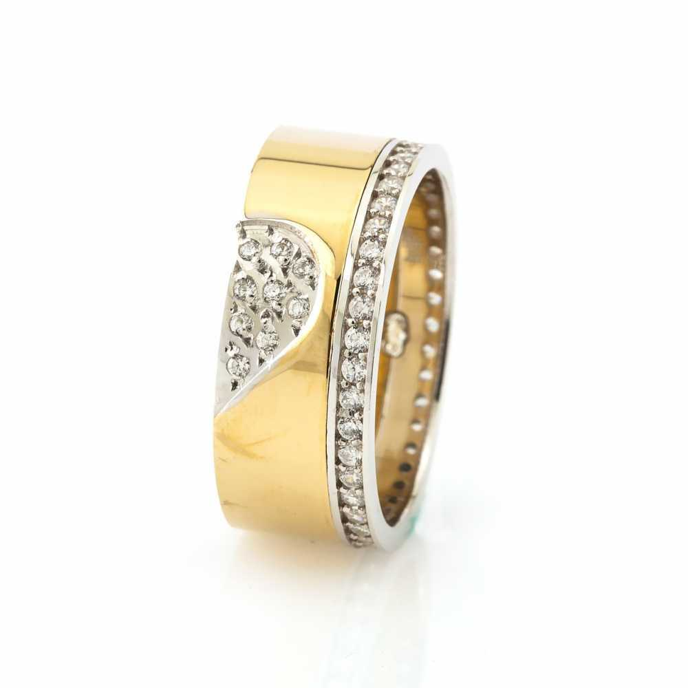 Zircon Gemmed Gold Plated 925 Carat Silver Wedding Ring
