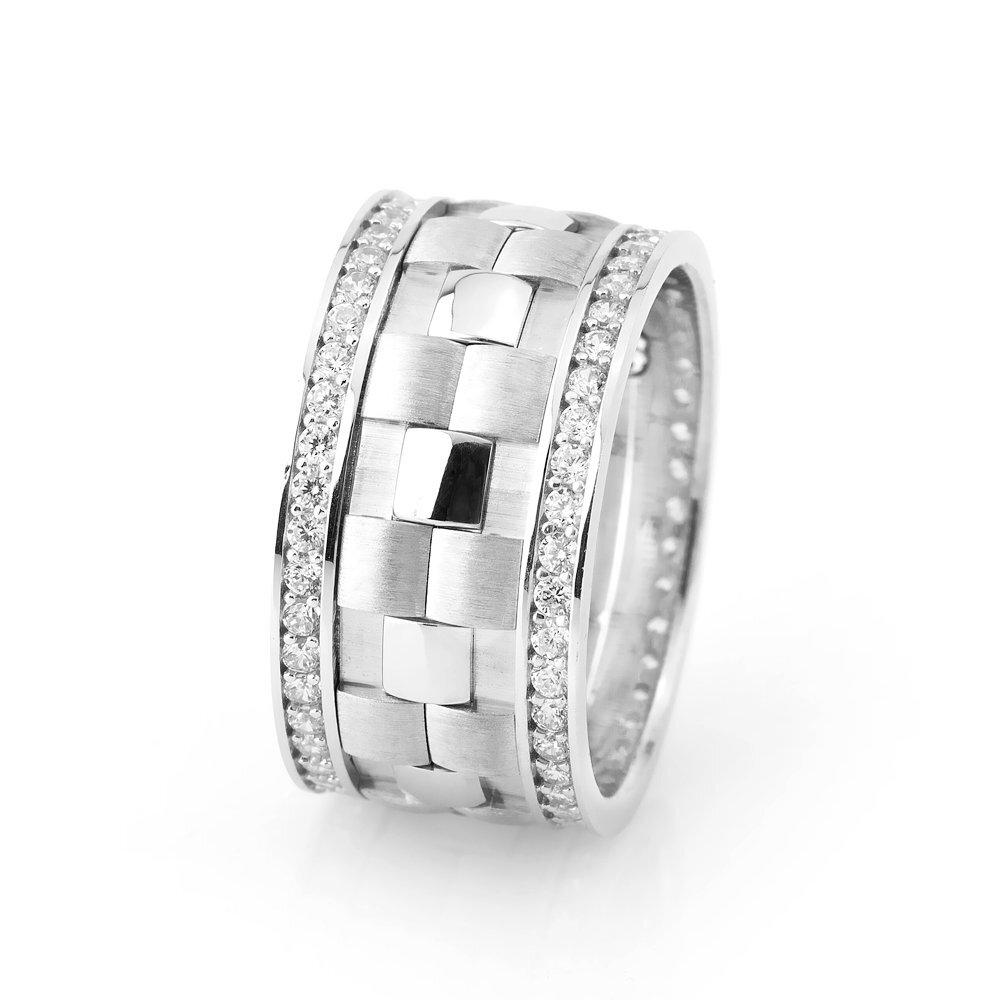 خاتم زفاف فضة عيار 925 بفصوص زركون و طبقة مزدوجة نسائي