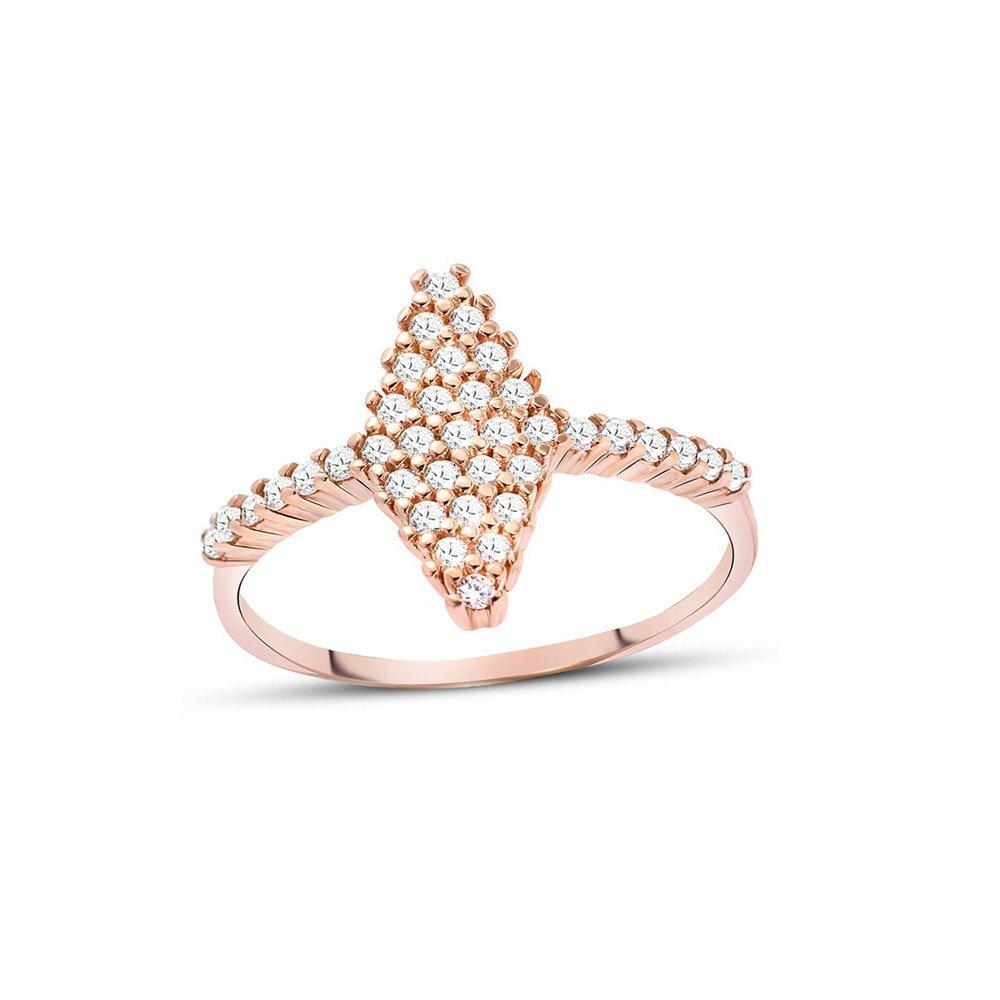 Women's White Zircon Gemmed 925 Carat Silver Ring