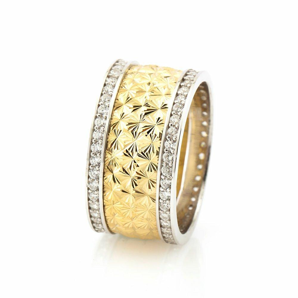 Double Layer Zircon Gemmed 925 Carat Silver Wedding Ring