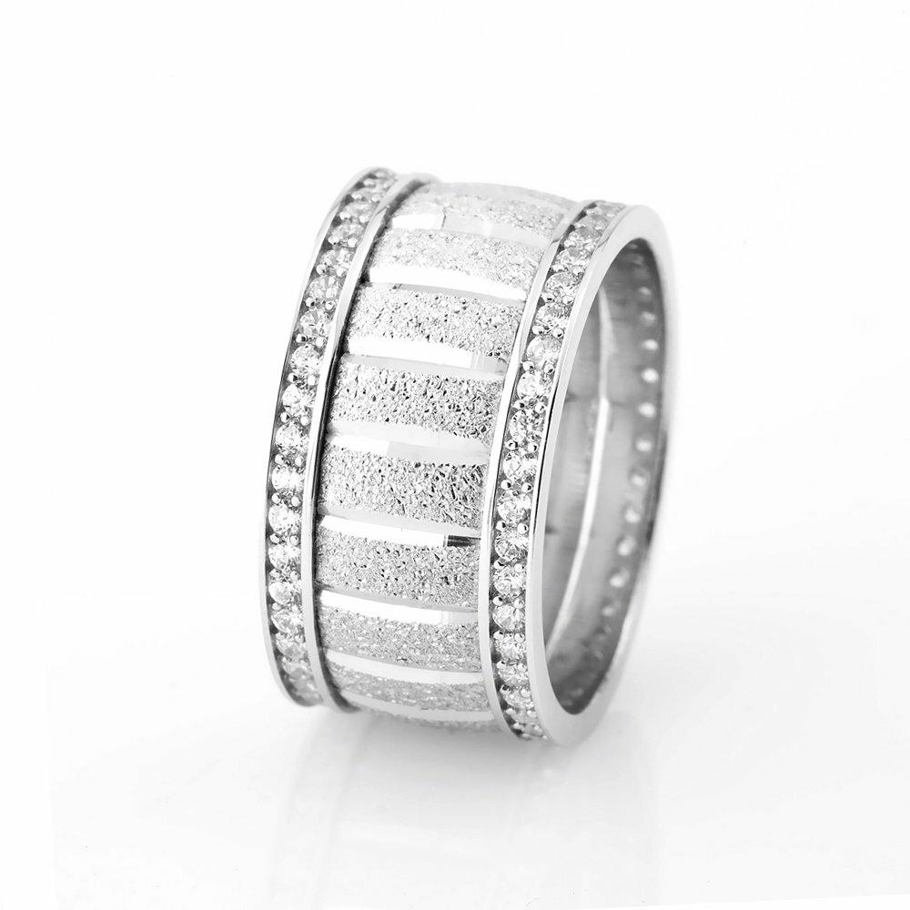 Women's Double Layer Zircon Gemmed 925 Carat Silver Wedding Ring
