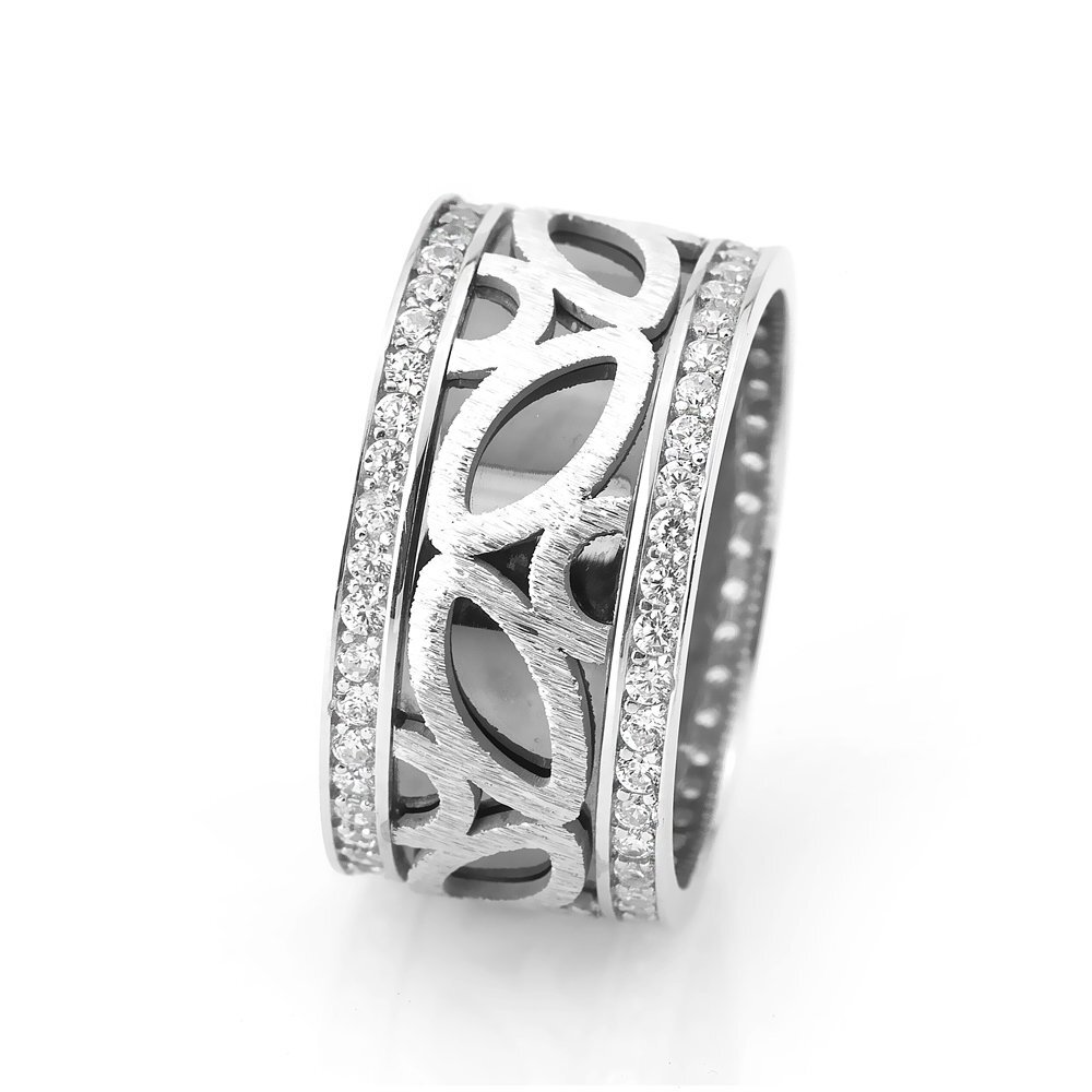 Women's Modern Design Zircon Gemmed 925 Carat Silver Wedding Ring
