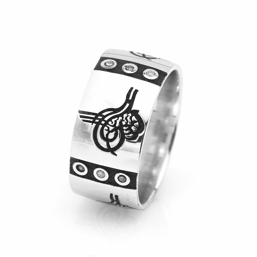 Women's Zircon Gemmed Tughra Design 925 Carat Silver Wedding Ring