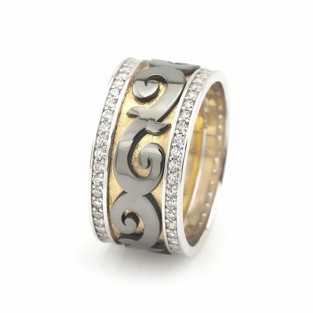 Women's Classic Design Double Layer Zircon Gemmed 925 Carat Silver Wedding Ring