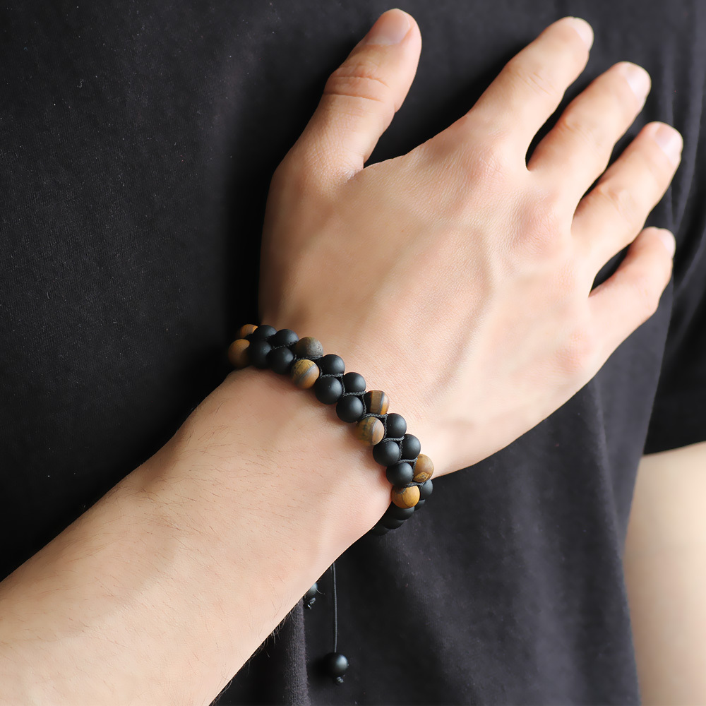 Men's Double Layer Tiger Eye Natural Stone Bracelet