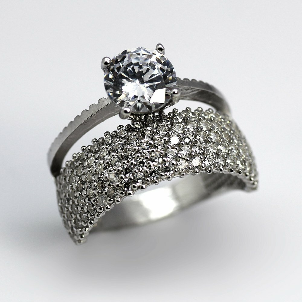 Women's 2 Layers Zircon Gem Embroidered 925 Carat Silver Ring