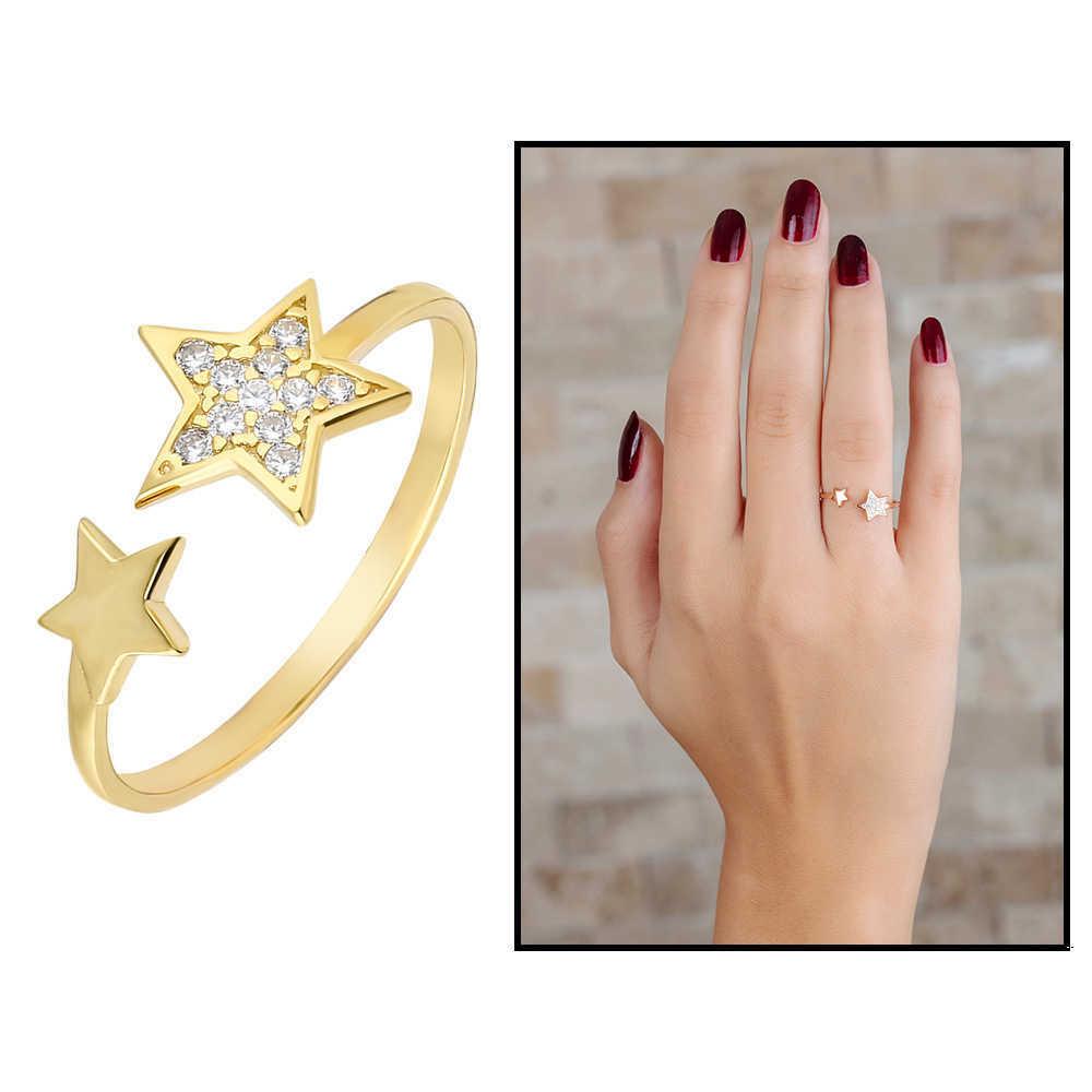 خاتم فضة عيار 925 مطلي ذهبي بتصميم نجمة بفصوص زيركون نسائي