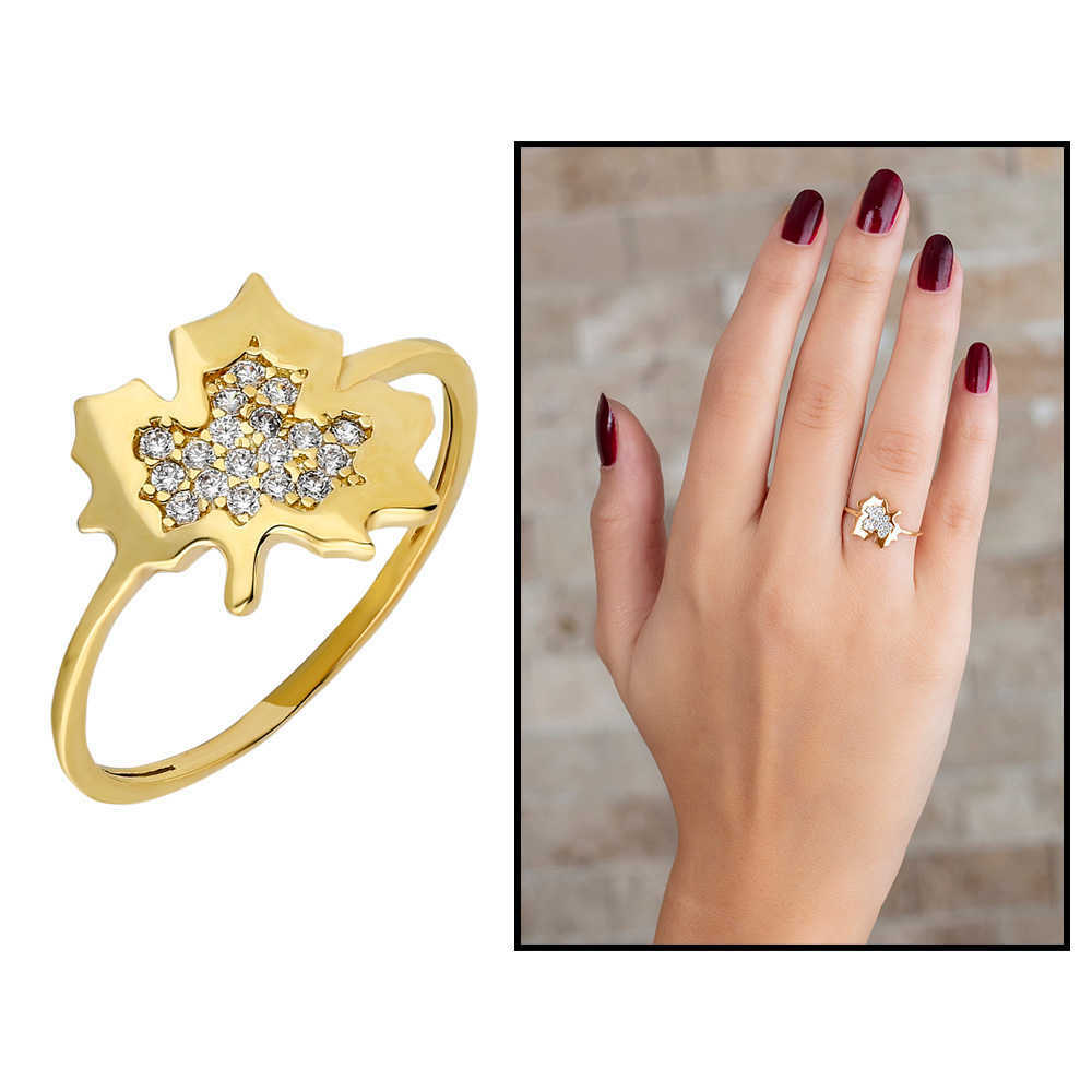 خاتم فضة مطلي ذهب بشكل ورقة شجر بفصوص زركون نسائي- 925 عيار