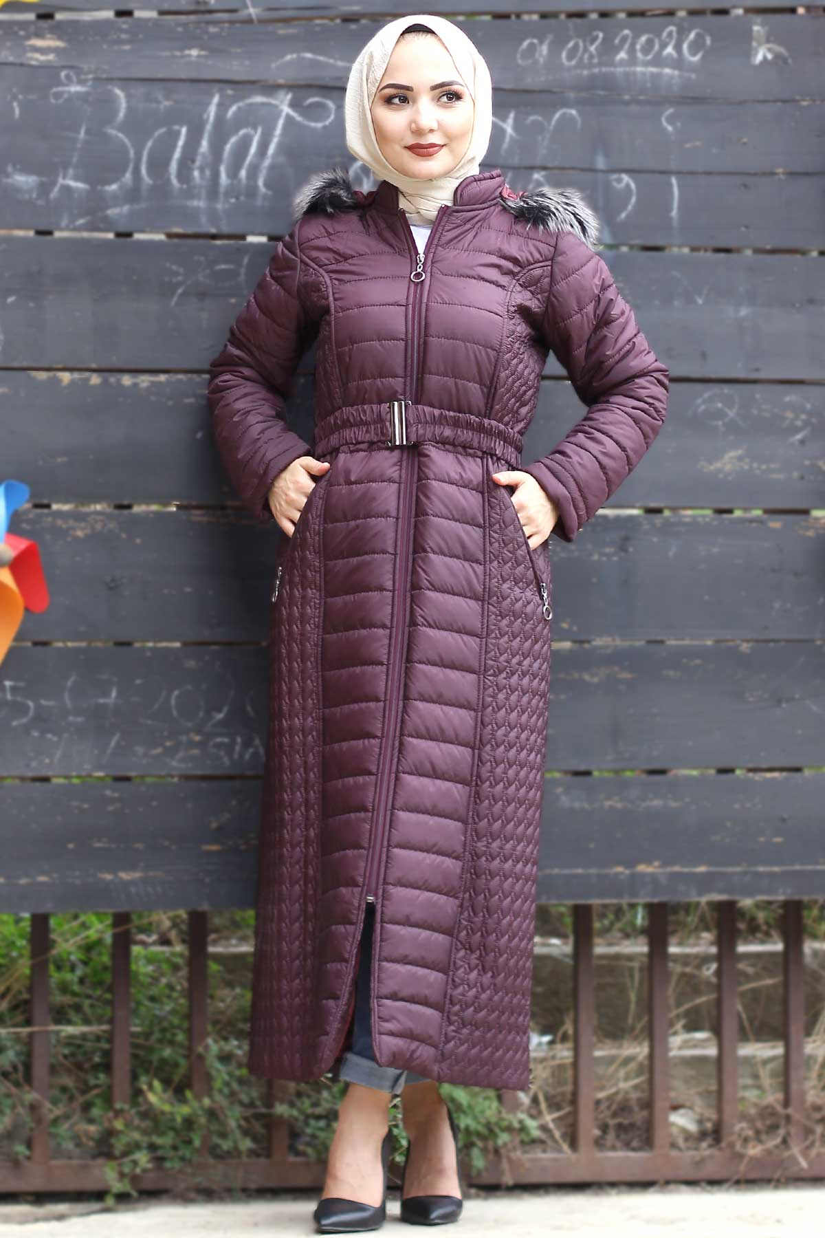 معطف مبطن أرجواني طويل نسائي