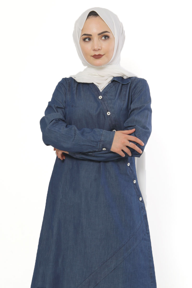 Women's Button Dark Blue Denim Tunic & Pants Set