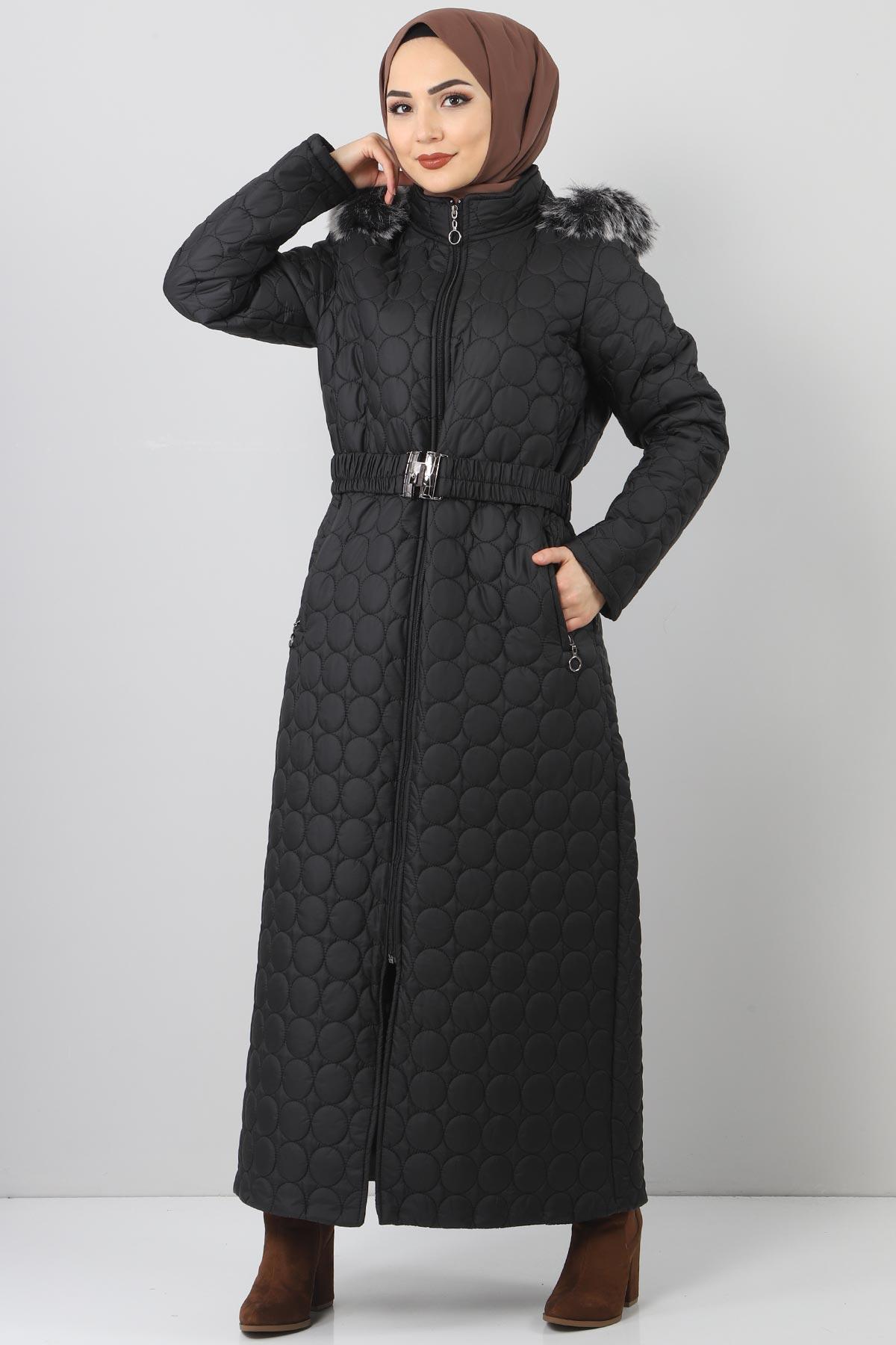 معطف مبطن أسود مقاس كبير نسائي
