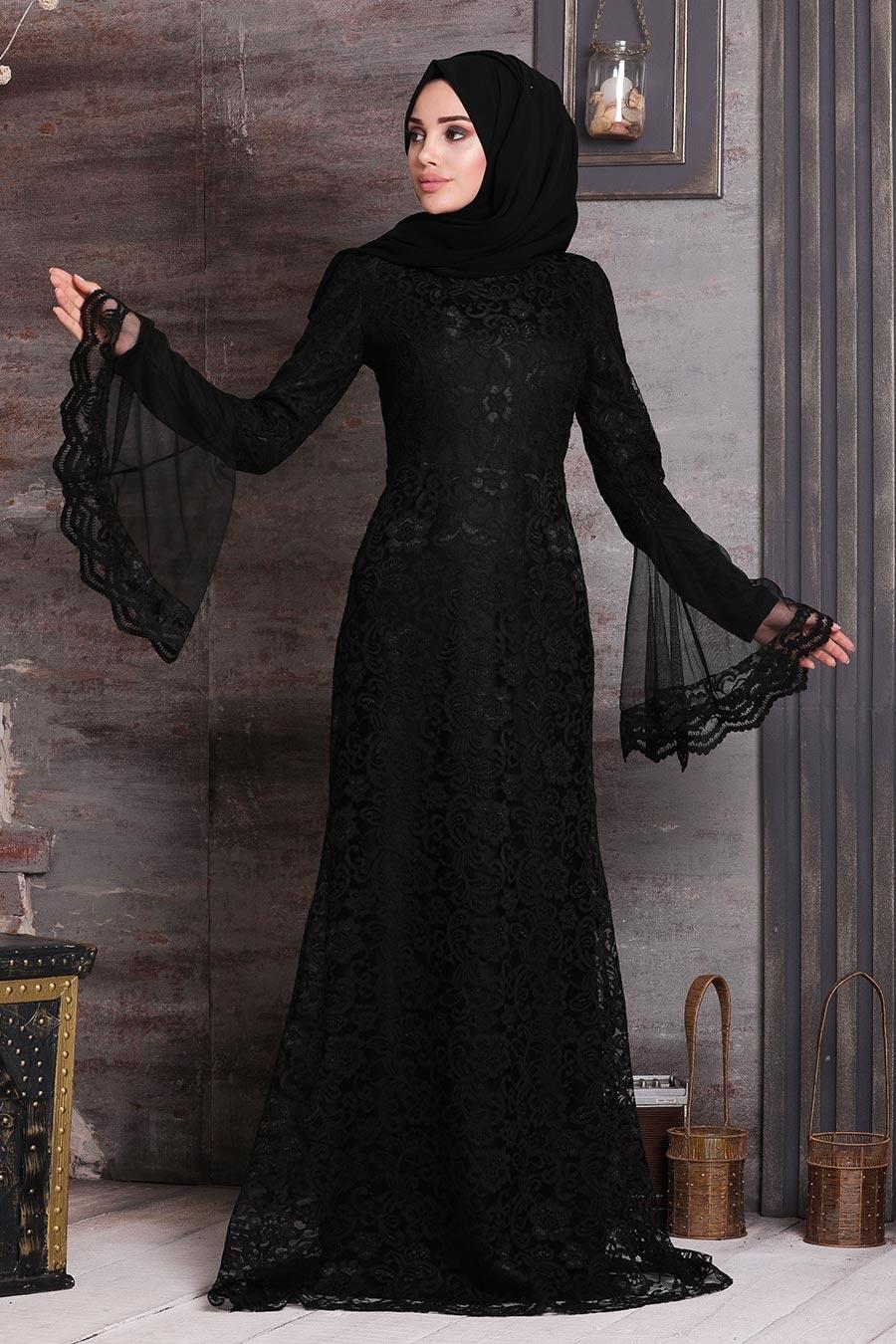 فستان سهرة محتشم دانتيل أسود نسائي