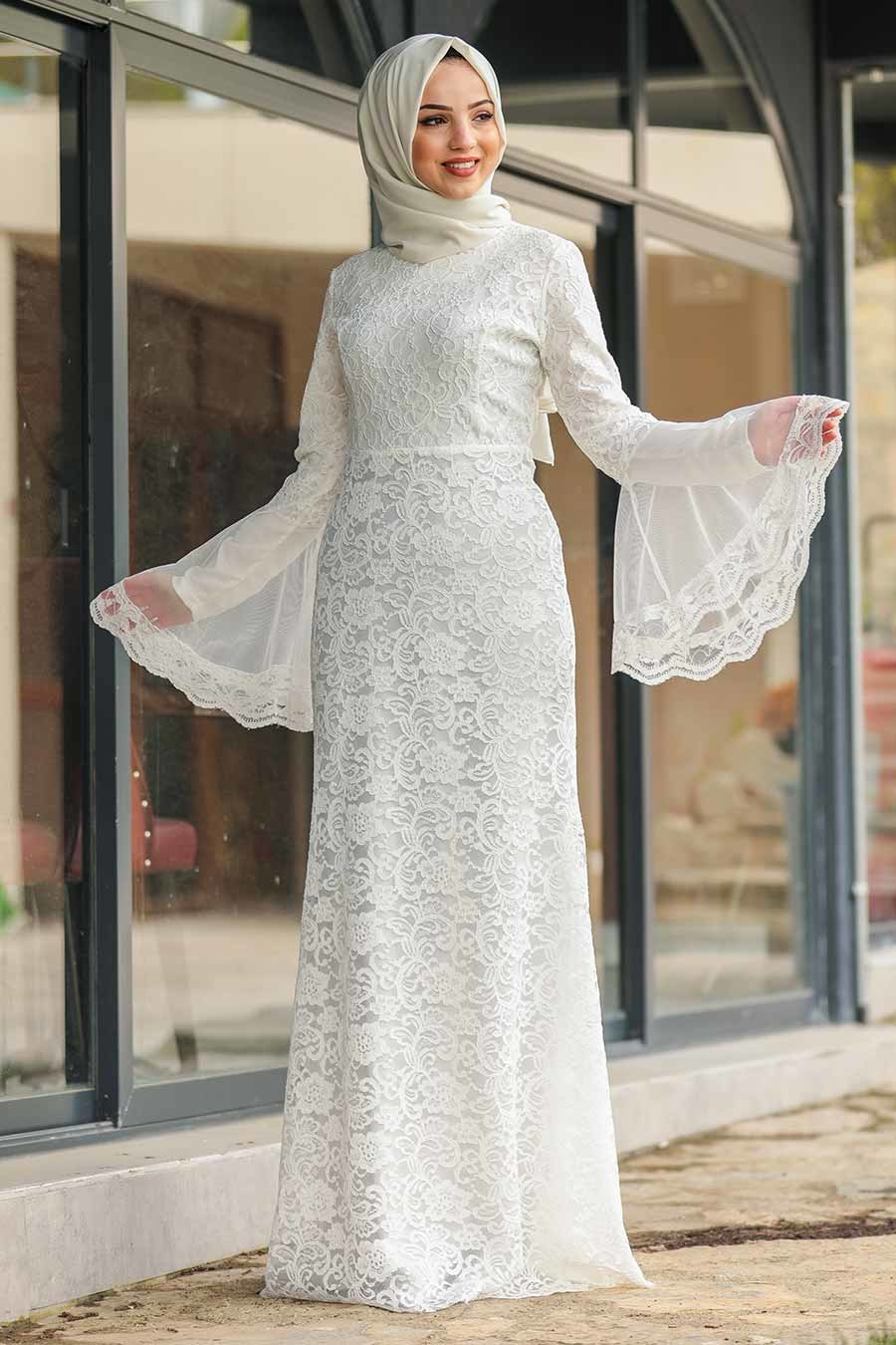 فستان سهرة محتشم دانتيل أبيض نسائي