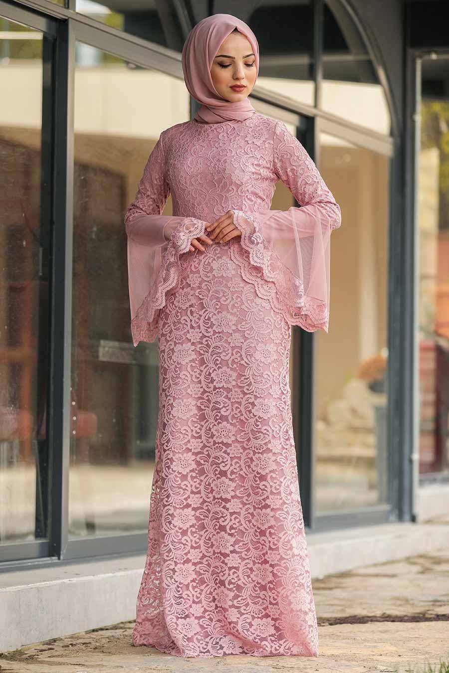 فستان سهرة محتشم دانتيل وردي غامق نسائي