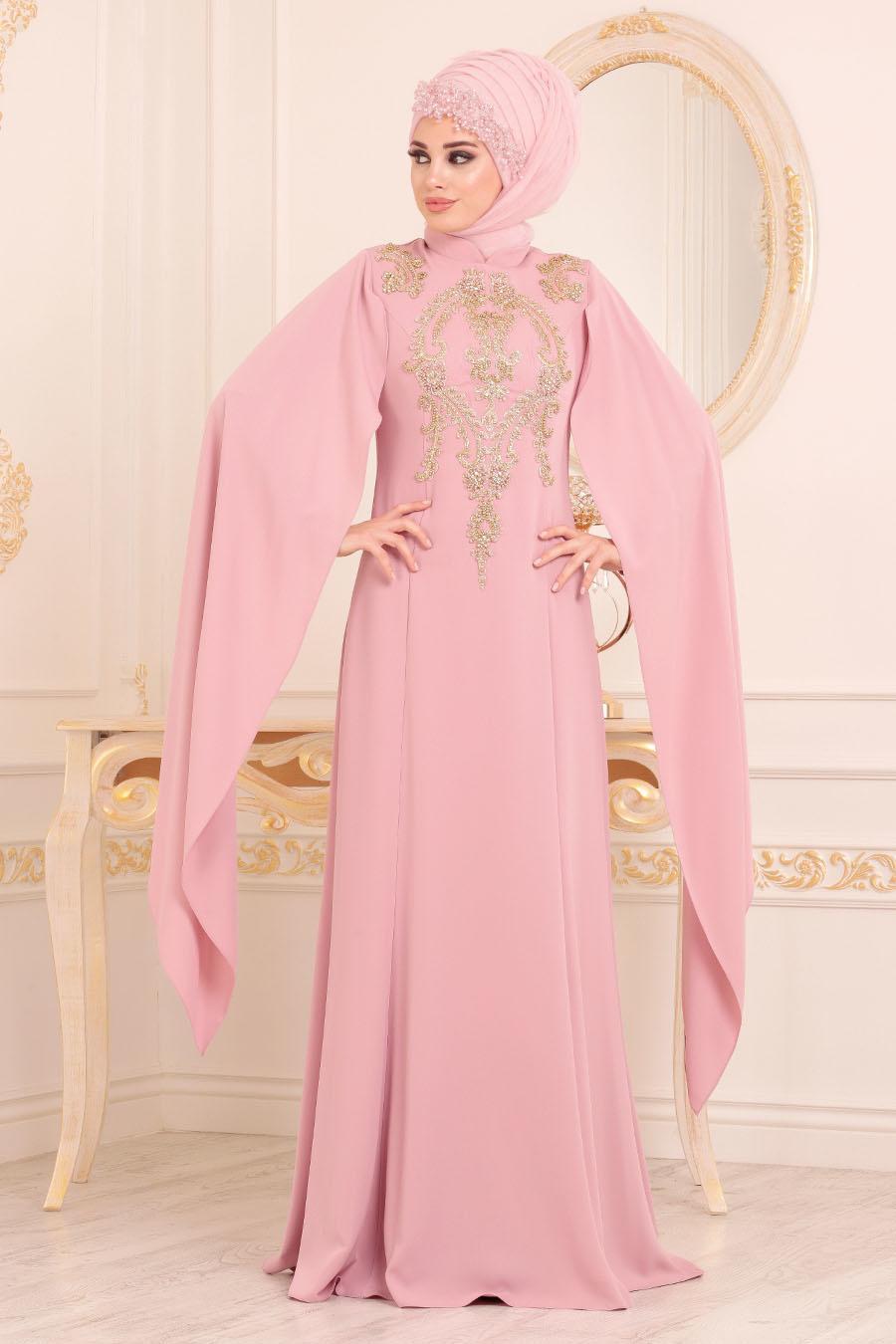 فستان سهرة وردي فاتح مفصَل بدانتيل نسائي
