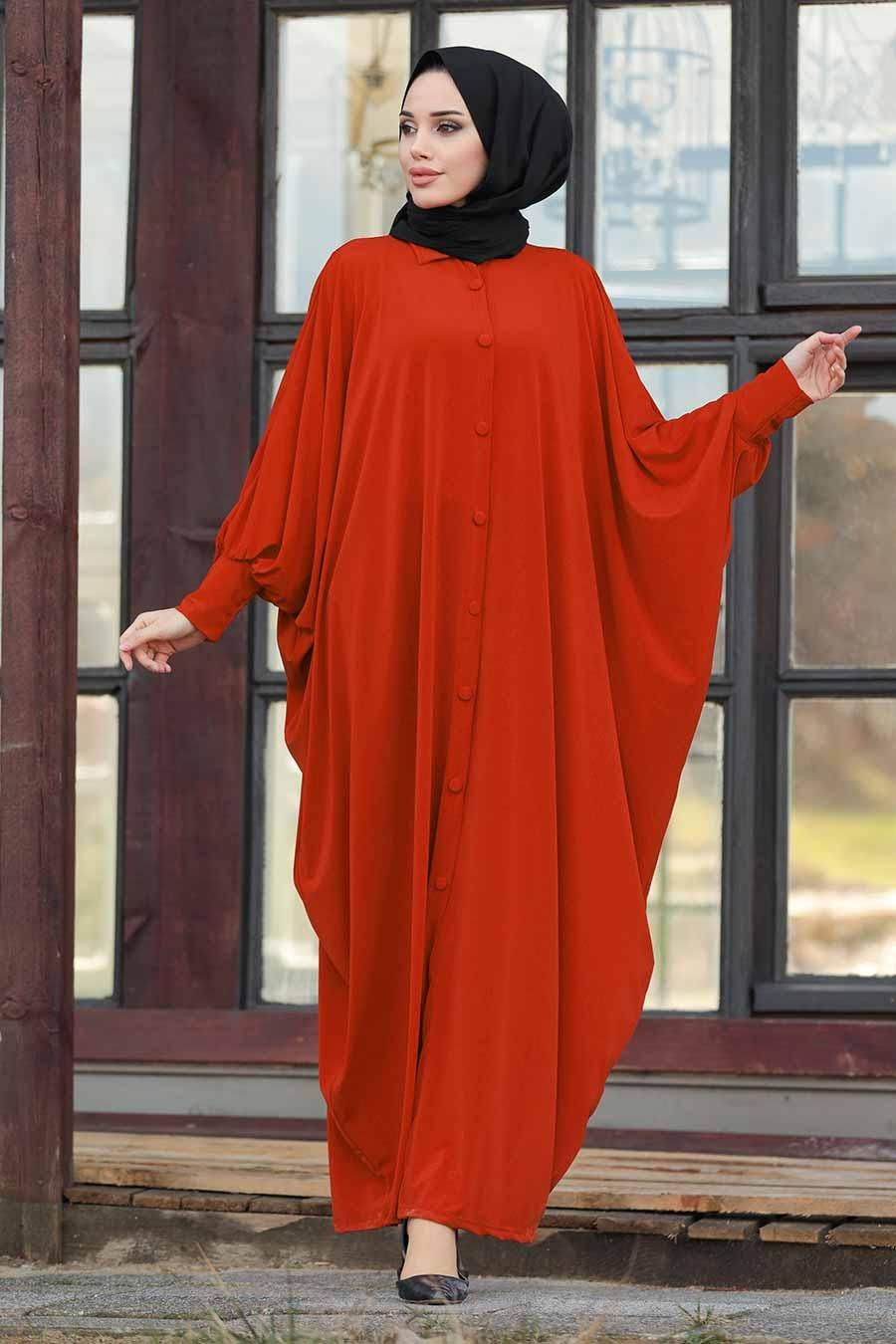 عباية محتشمة أحمر طوبي نسائية