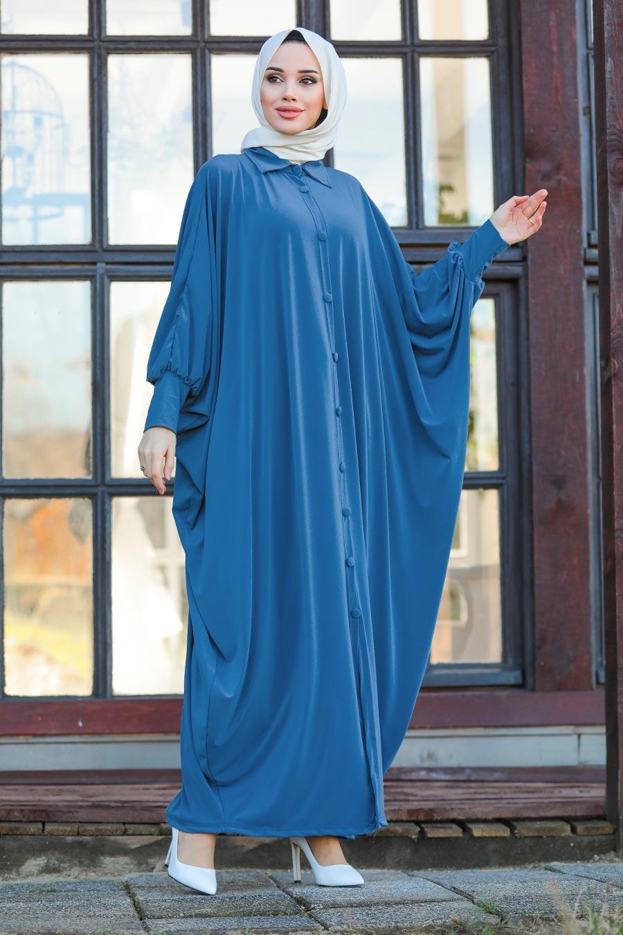 عباية محتشمة زرقاء نسائية