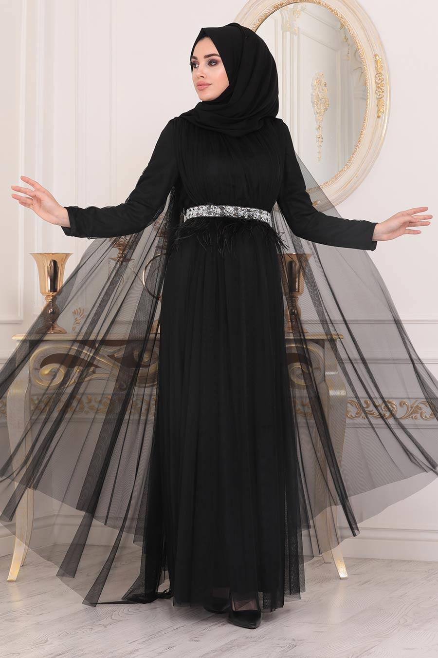 فستان سهرة محتشم أسود مفصَل بسلسلة نسائي