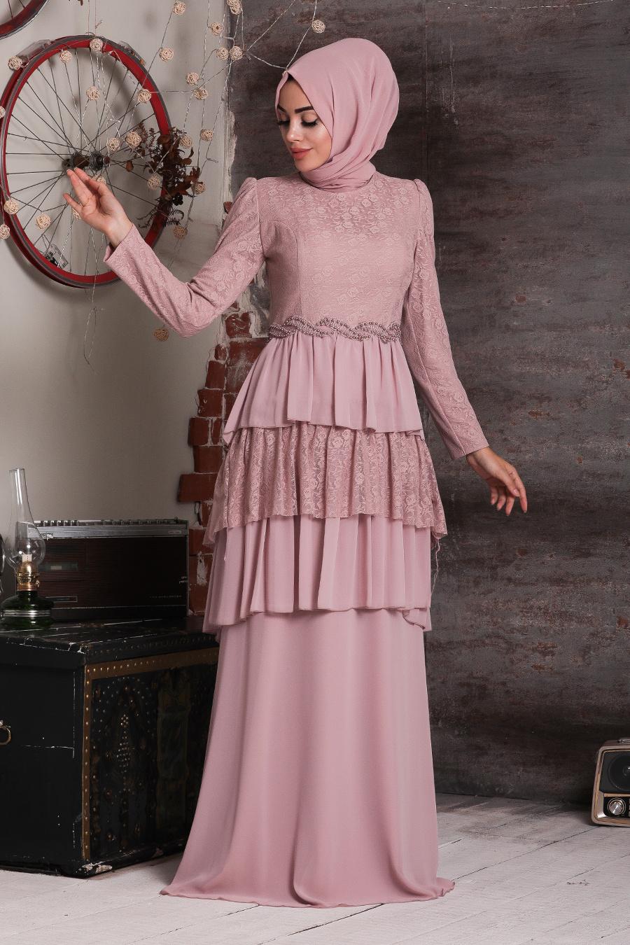 فستان سهرة محتشم وردي فاتح مطرز نسائي