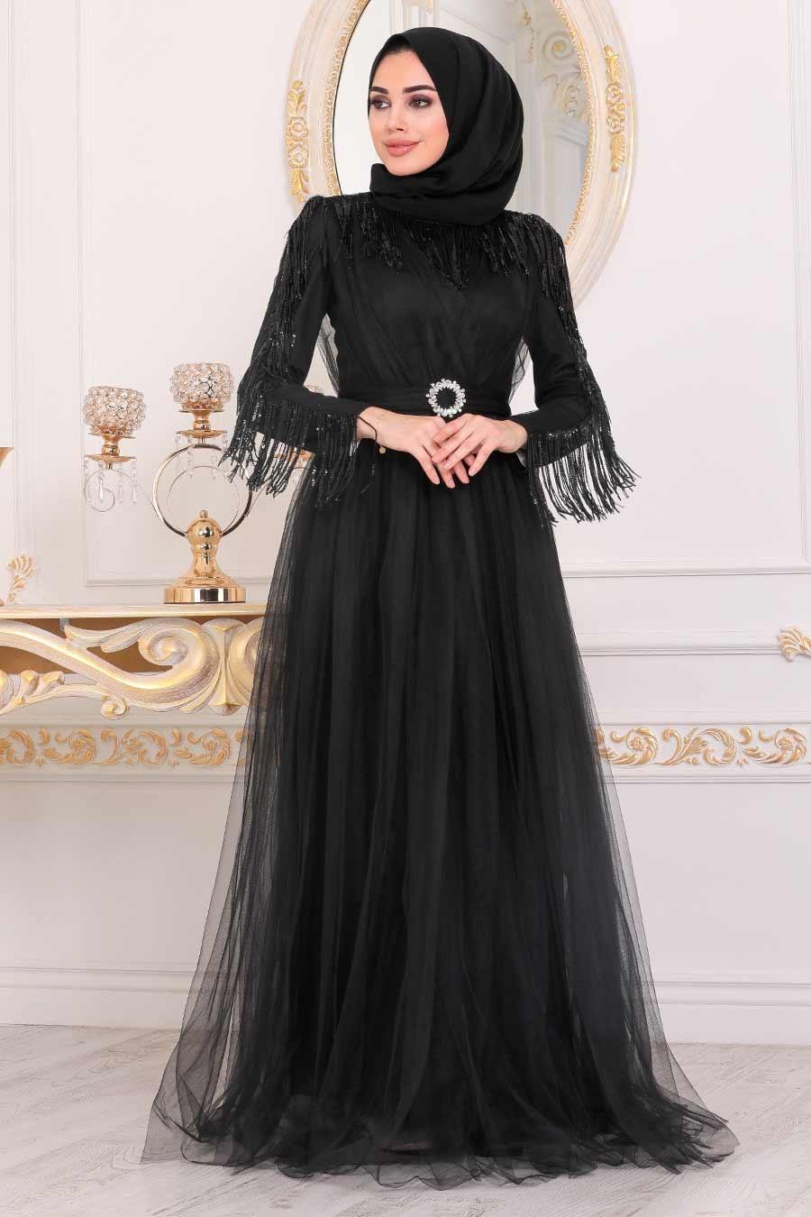 فستان سهرة محتشم أسود بشراشيب نسائي