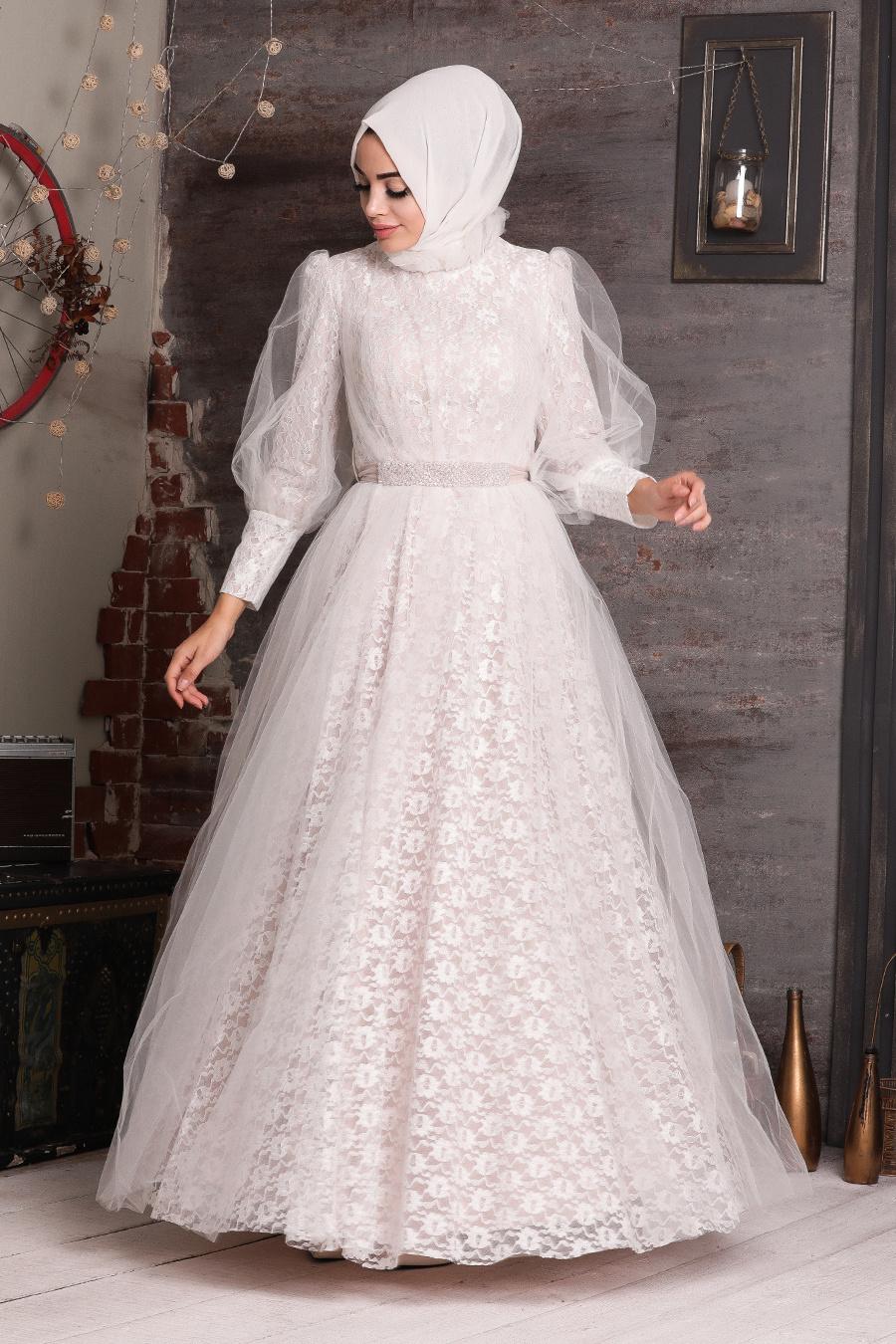 فستان سهرة محتشم أبيض مفصل بدانتيل نسائي