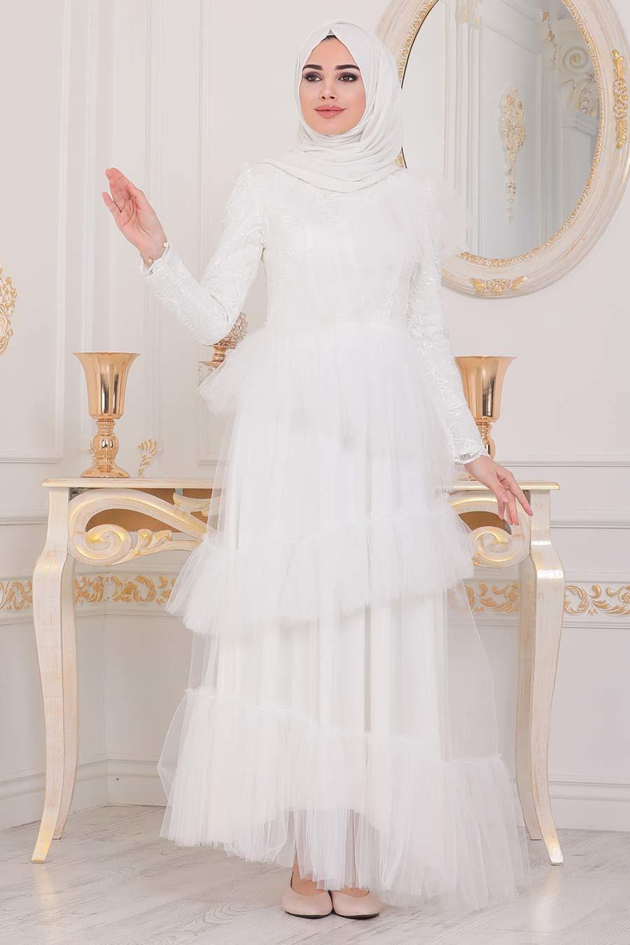 فستان سهرة طويل محتشم اكرو مكشكش نسائي
