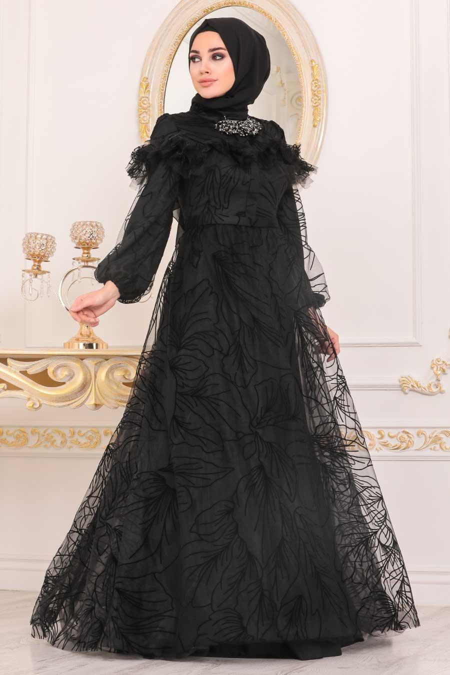فستان سهرة محتشم أسود مزخرف نسائي