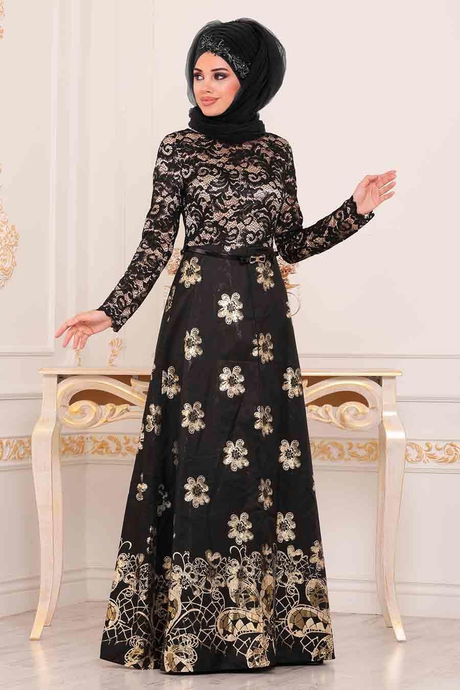 فستان سهرة أسود مزخرف بورود نسائي