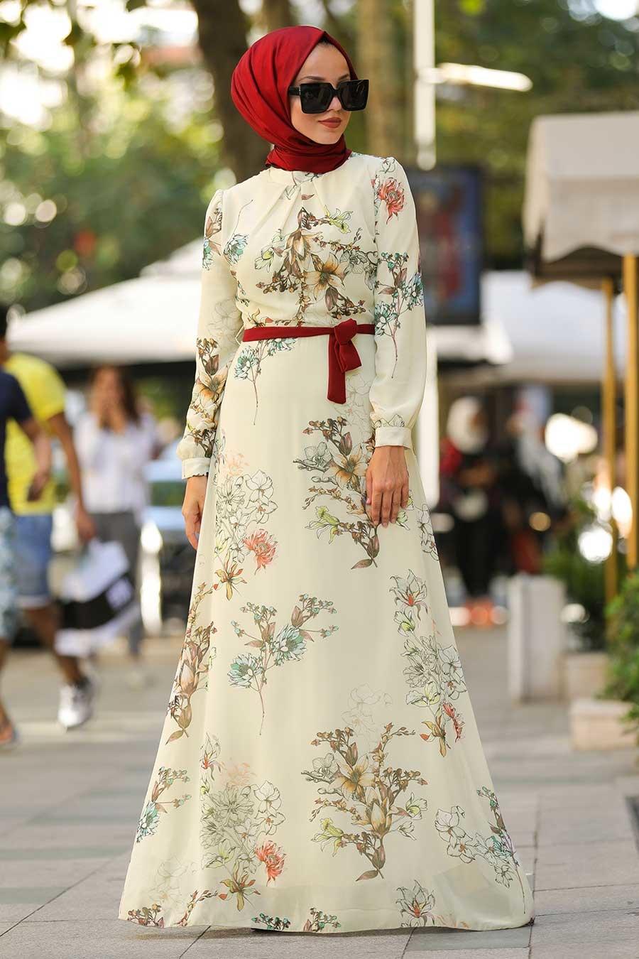 فستان سهرة محتشم اكرو مزخرف بورود نسائي