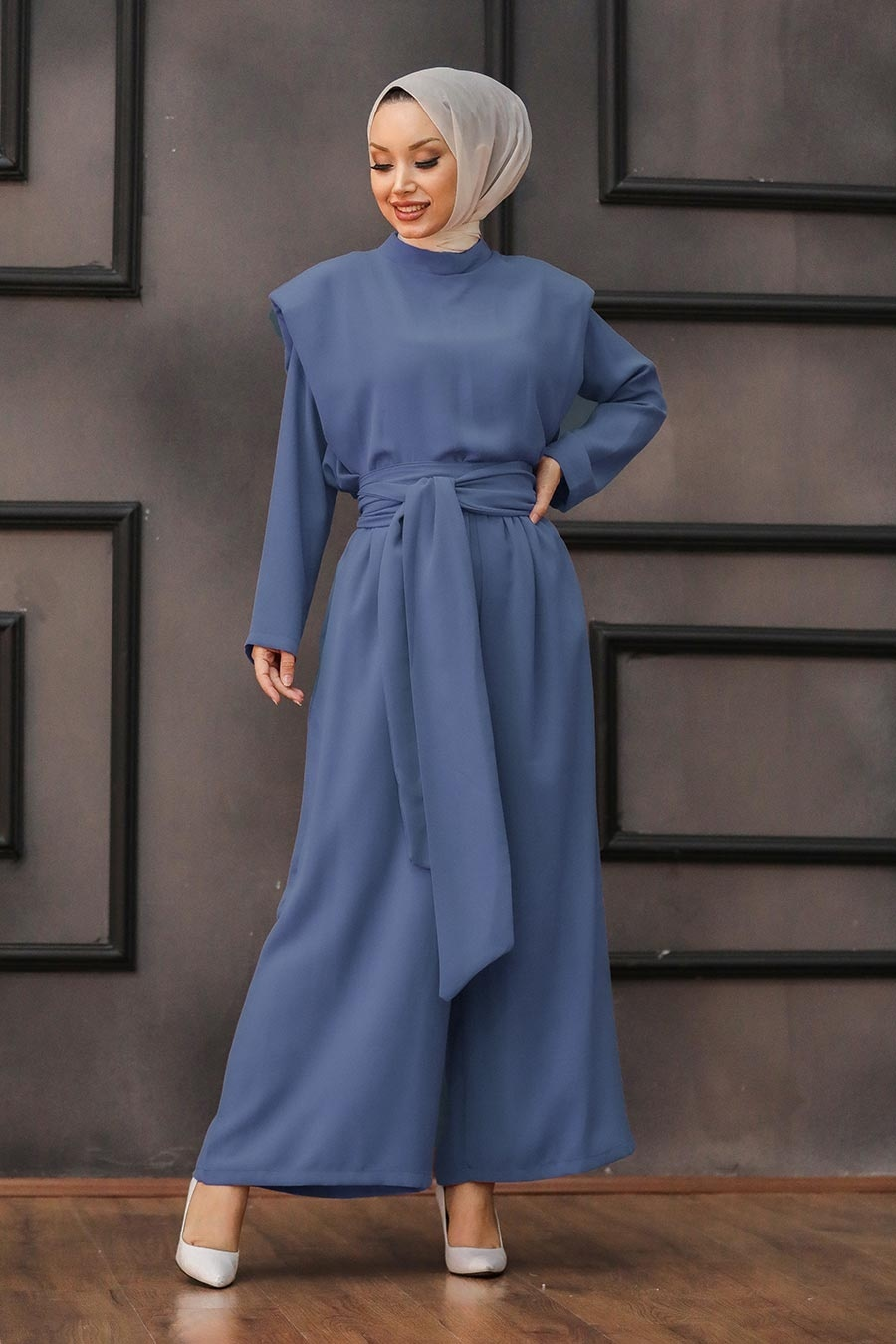 Women's Belted Indigo Modest Outfit – 2 Pieces