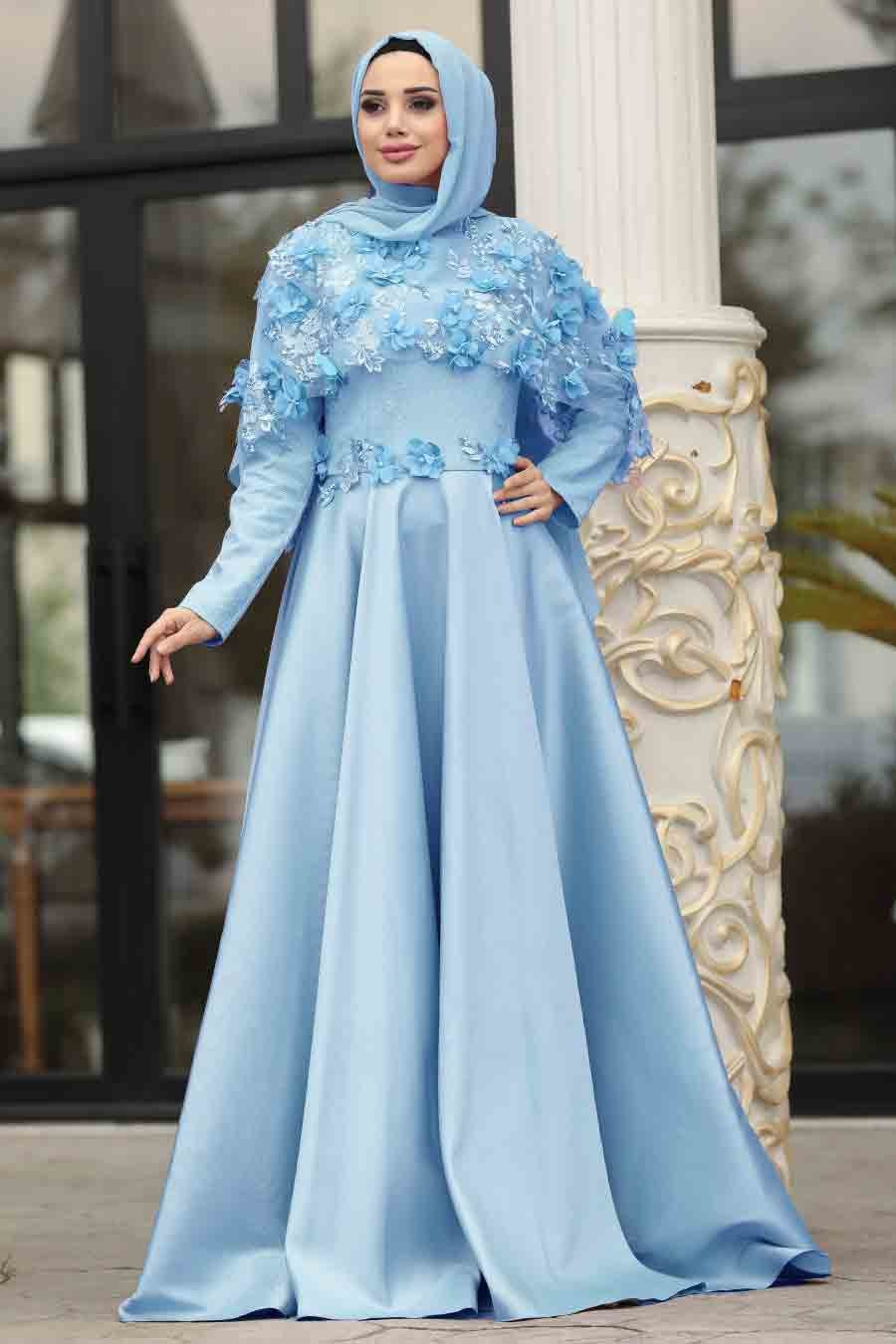 فستان سهرة أزرق فاتح بجزء علوي 3D نسائي