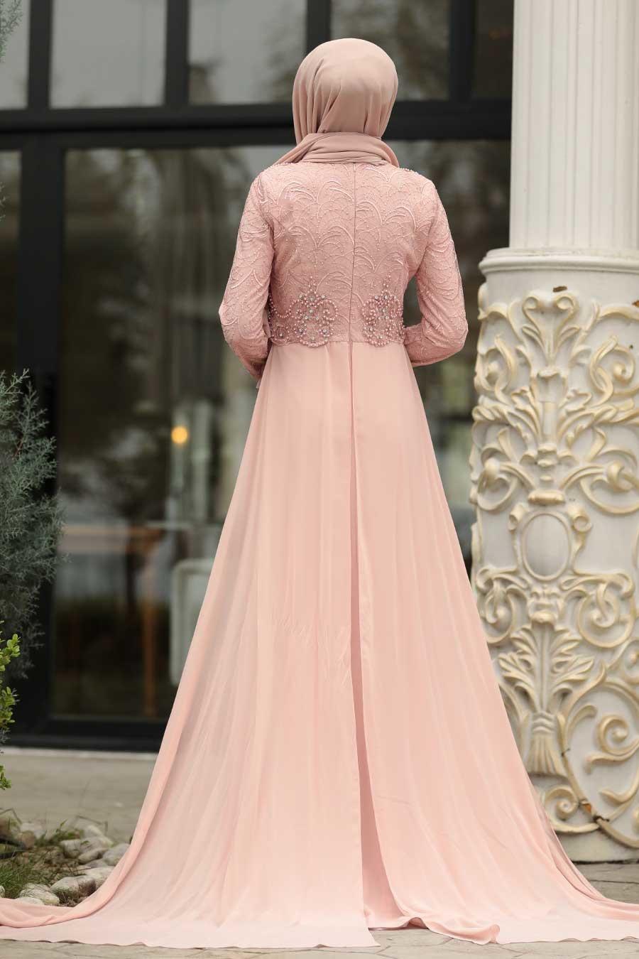 فستان سهرة وردي بخرز نسائي