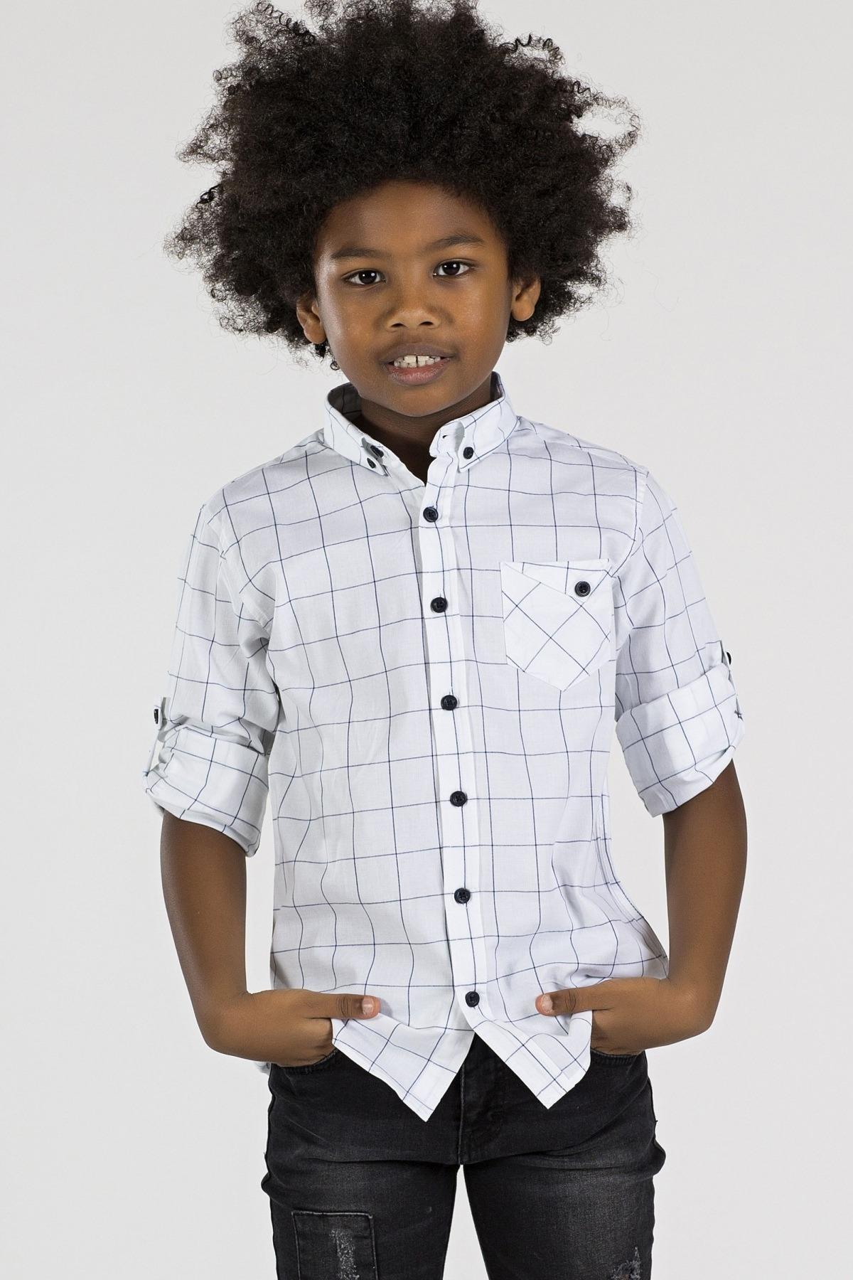 Boy's Plaid White Shirt