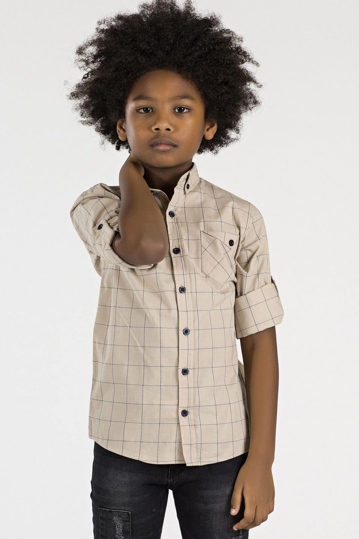 Boy's Checkered Beige Shirt