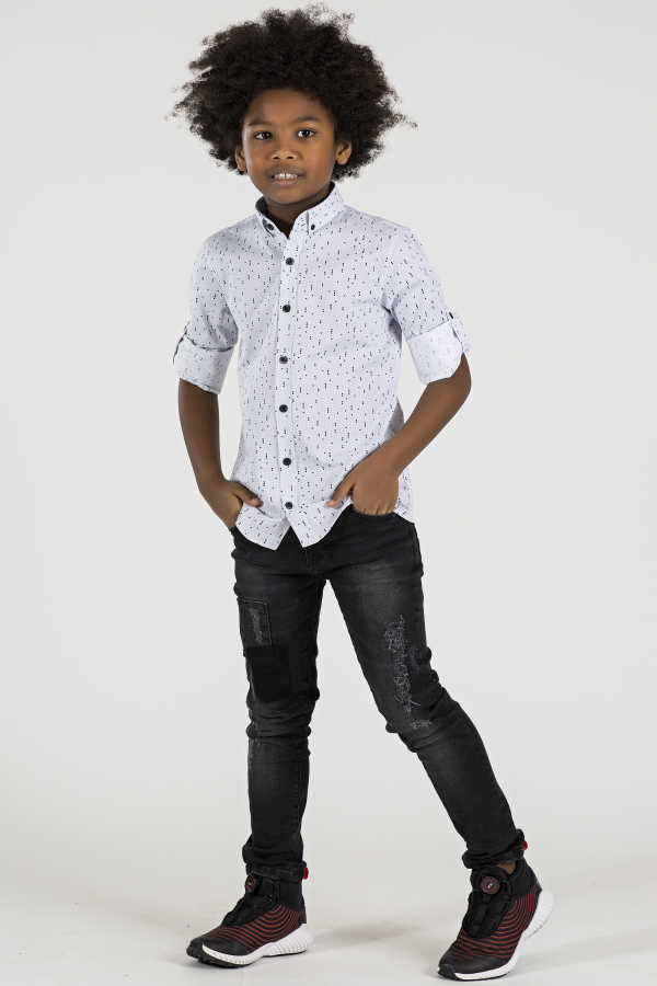 Boy's Patterned White Shirt