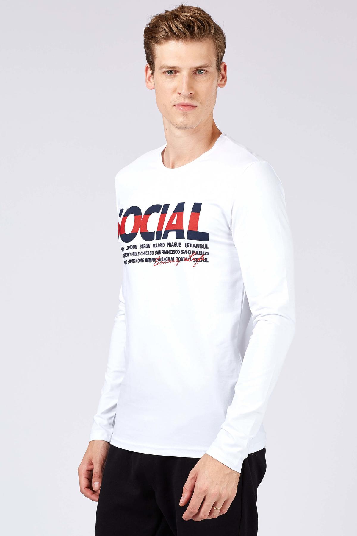 Men's Printed White Sweatshirt