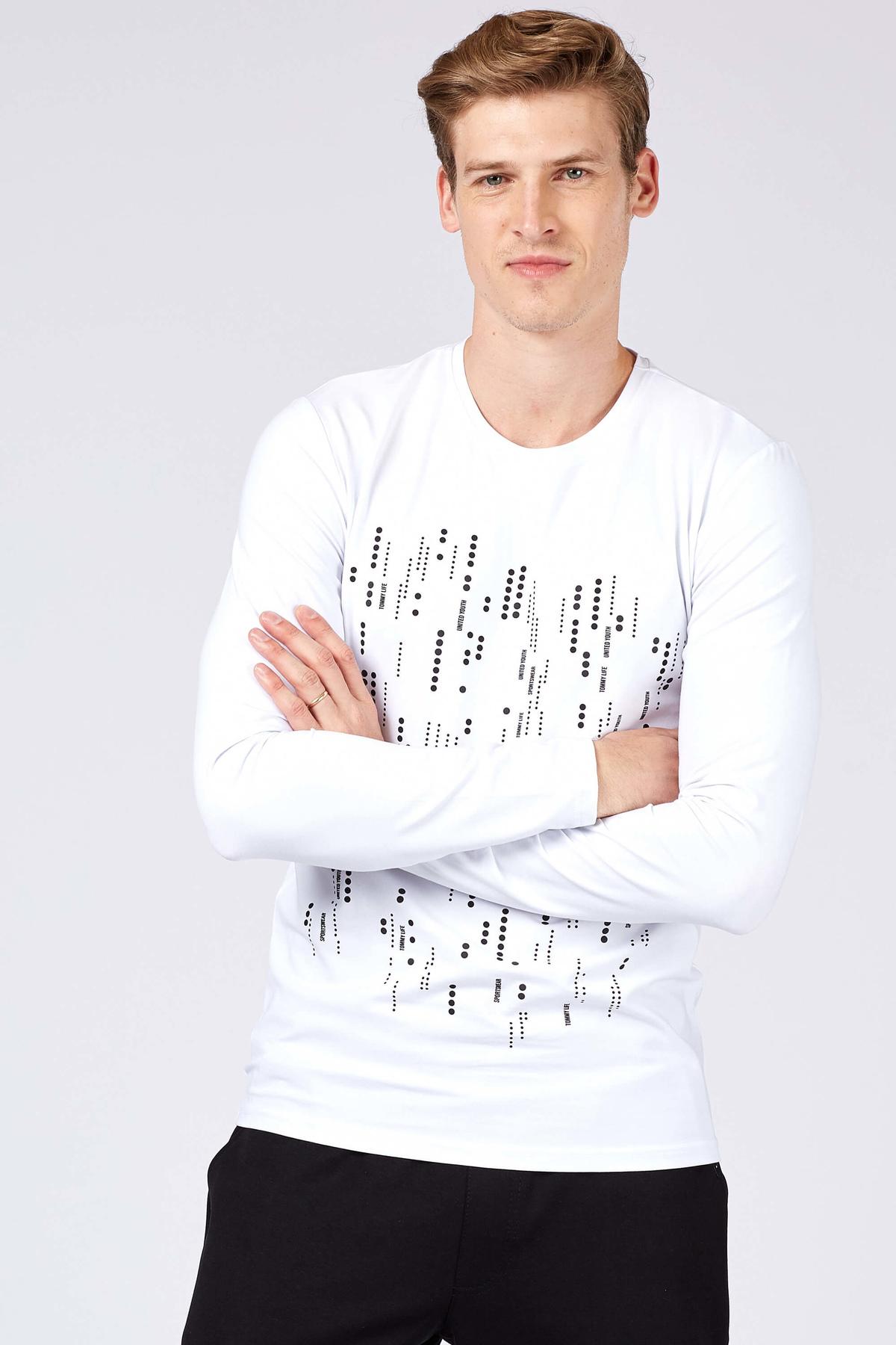 Men's Patterned White Sweatshirt