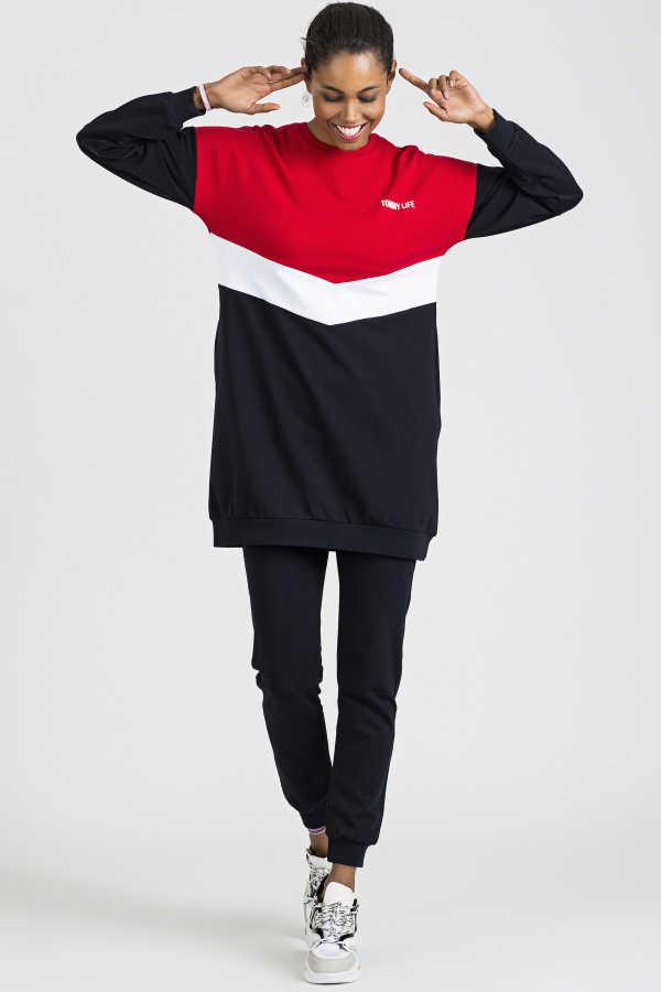 Women's Crew Neck Navy Blue- Red Sweat Suit