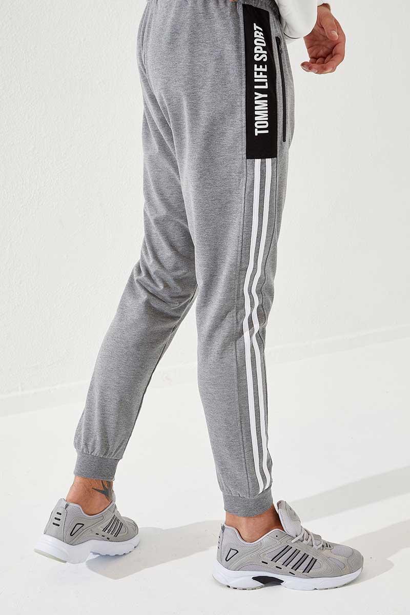 Men's Side Stripe Grey Melange Sweatpants