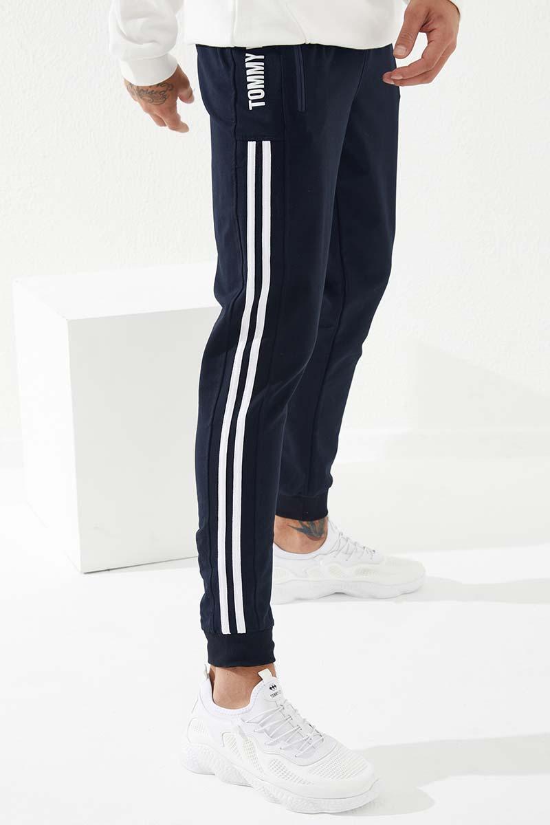Men's Printed Navy Blue Sweatpants