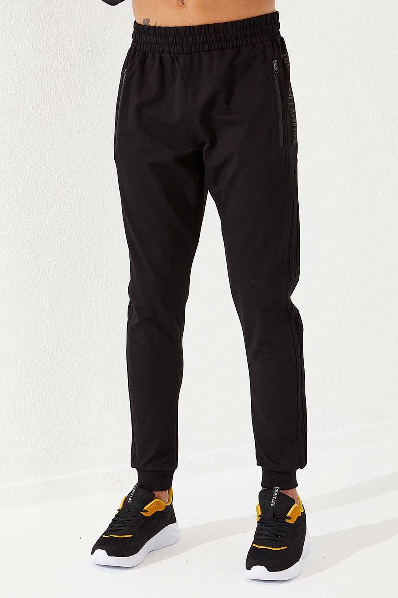 Men's Printed Side Stripe Black Sweatpants