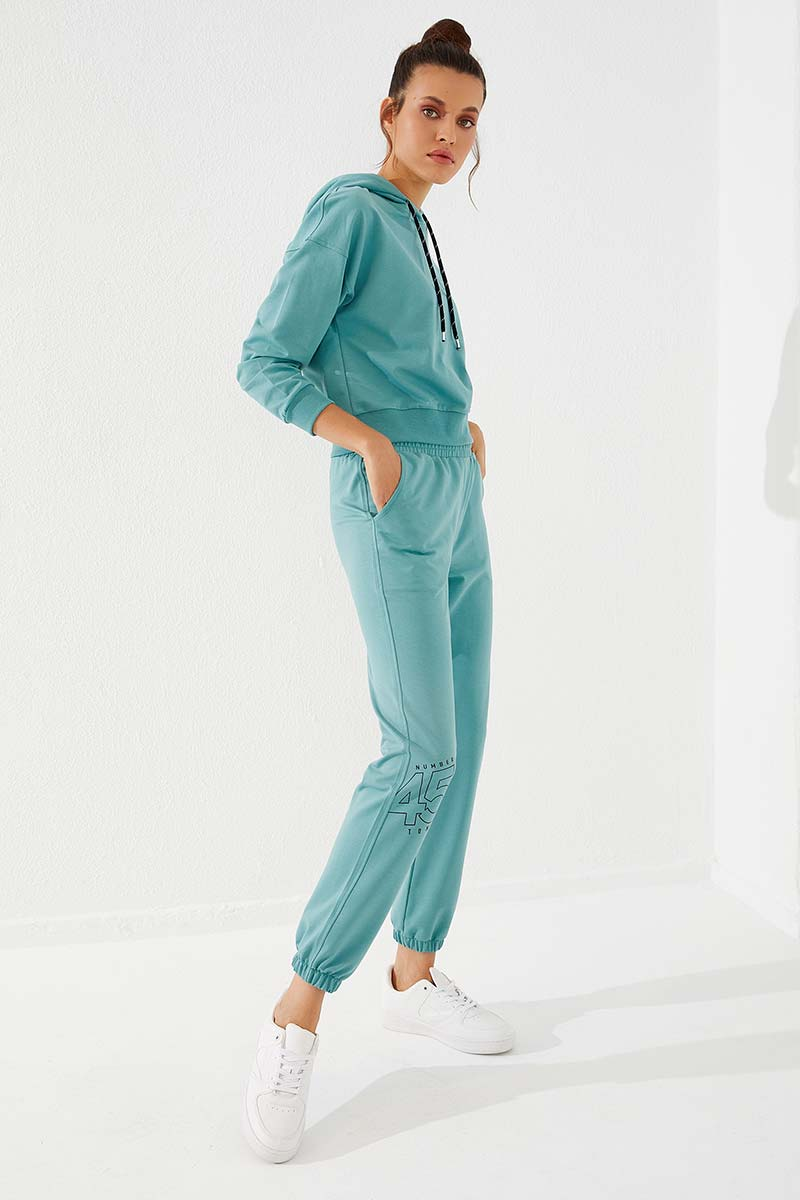 Women's Elastic Ankle Printed Mint Green Sport Pants