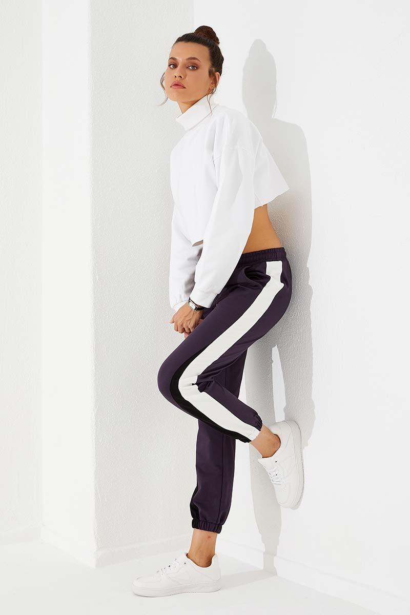 Women's Elastic Legs Purple Sport Pants