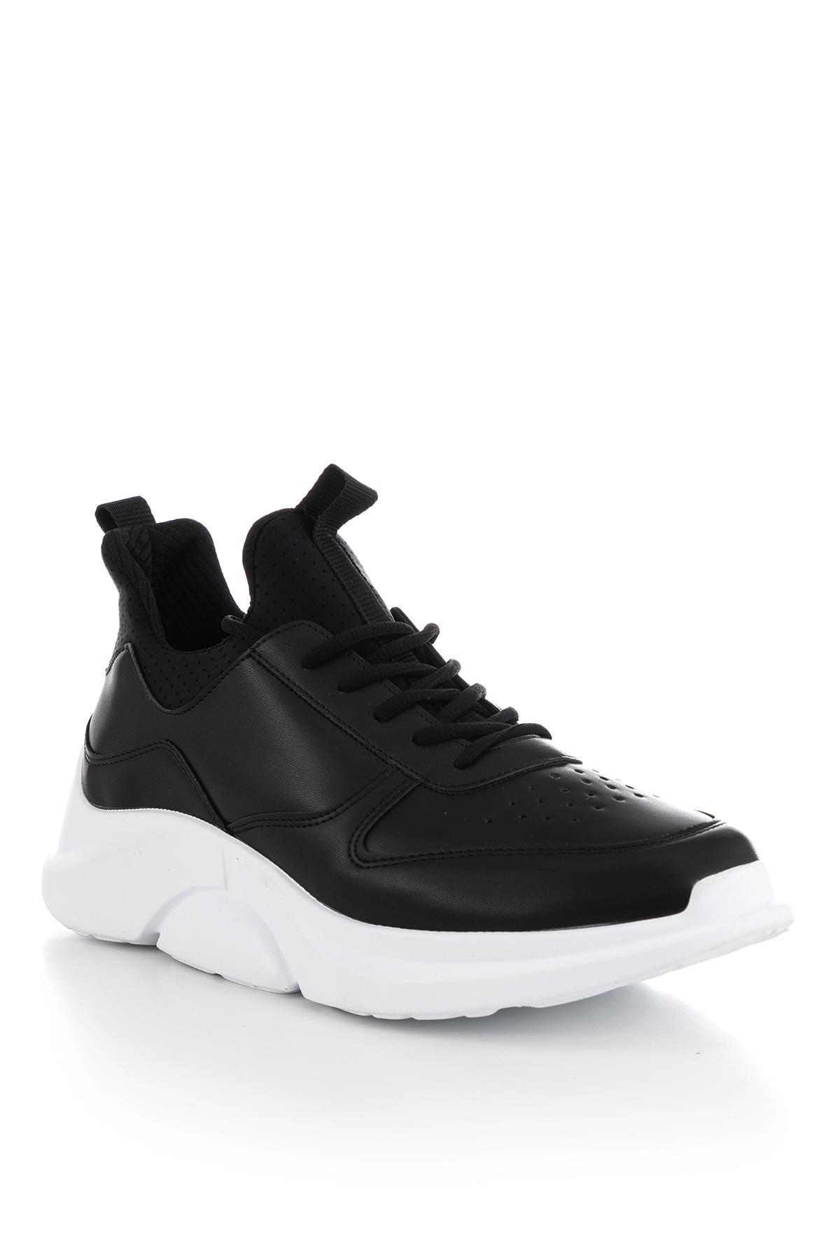 حذاء رياضة أبيض أسود رجالي