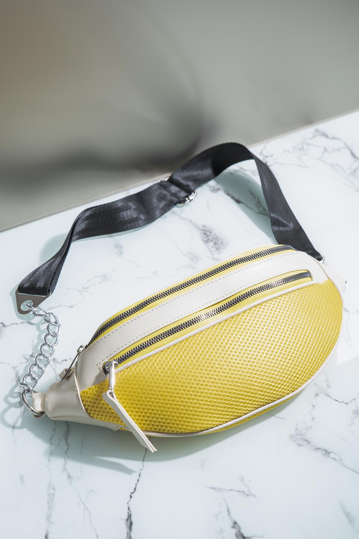 حقيبة خصر أصفر أبيض نسائية