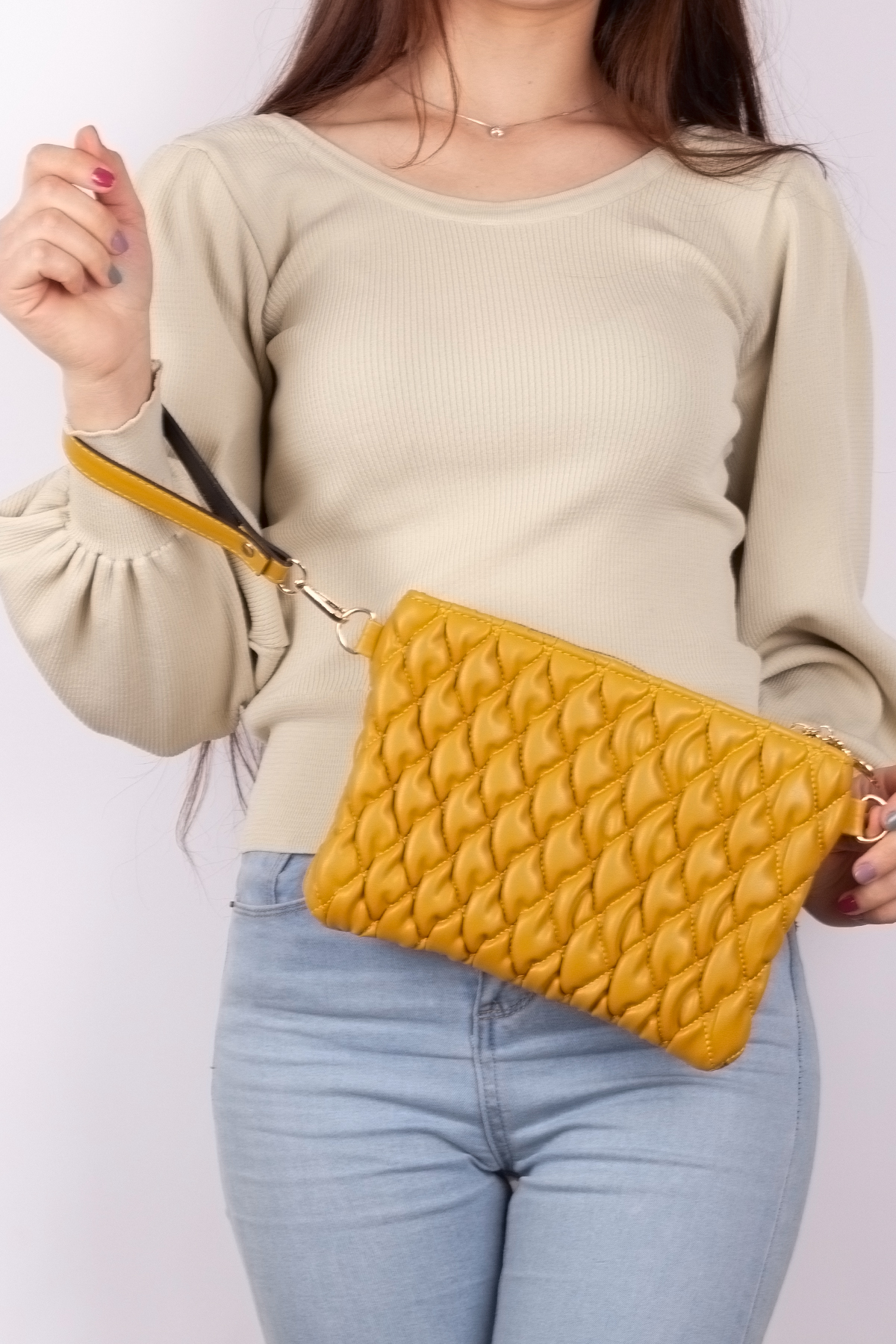 Women's Chain Detail Puff Embroidery Yellow Soft Leather Bag