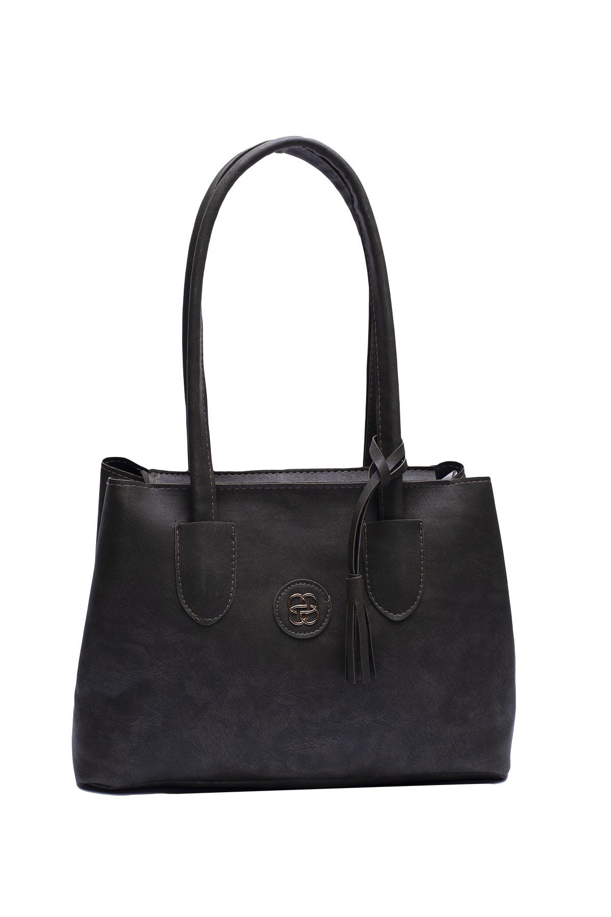 حقيبة يد كاكي مفصلة بشراشيب نسائية
